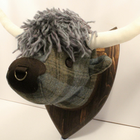 Highland cow faux trophy head