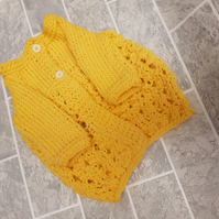 Preemie baby hand knit cotton yellow cardigan