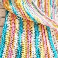 Hand made baby blanket in multicoloured yarn