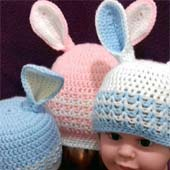 Easter Bunny Rabbit Hat. Baby Girl Boy. Pink Blue White. With optional Butterfly