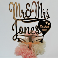 Wedding Cake Topper, Personalised, Gold Mirror, Script