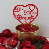 Heart Wedding Cake Topper, Personalised, Centrepiece, Bride & Groom