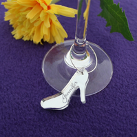Personalised, Shoe, Wine Glass, Charm, Champagne Flute, Hen Party, Bridal Shower