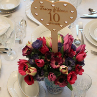 Wedding Table Number, Personalised, Centrepiece,  Heart