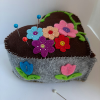 Heart shaped floral applique pin cushion