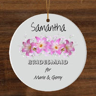 Ceramic hanging ornament, Bridesmaid gift