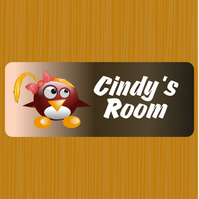 Bedroom door sign, Sign for kids, Aluminium indoor sign.
