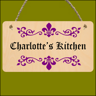 Kitchen sign, Hanging sign, Plywood sign