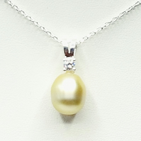 Sterling Silver Champagne South Sea Pearl Necklace