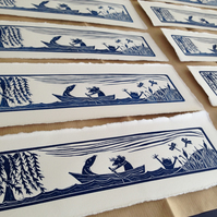 Wind in the Willows lino cut print