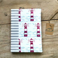 Lighthouse A5 Notebook, Lined Notebook for list lover, Seaside hardback notebook