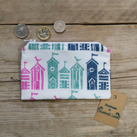 Large Beach hut Fabric purse, Small coin seaside purse, Colourful beach hut gift