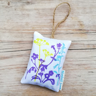 Wildflower print lavender bag filled with organic lavender