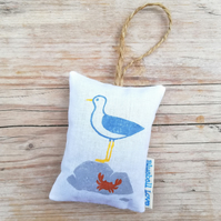 Seagull lover hanging lavender bag, lavender bag filled with organic lavender
