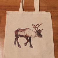 Reindeer Eco Fabric Reusable Shopping Tote Bag