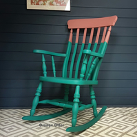 Wooden rocking chair, sourced and hand painted to order in a two-tone design