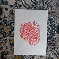 A4 'Pink Roses' Lino Print on Bamboo Paper Unframed - Lauren Linter Art
