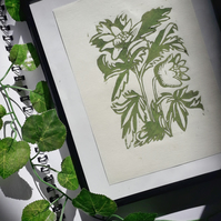 A5 'Wood Anemone' Green Lino Print on Bamboo Paper Unframed - Lauren Linter Art