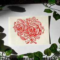 A5 'Red Roses' Lino Print on Bamboo Paper Unframed - Lauren Linter Art