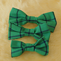 Green with blue stripes Pet bow tie S,M,L