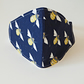 Cotton fabric face mask - dark blue with bees