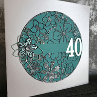 Aqua 40th Birthday Card