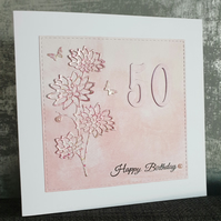 Pink Dalia 50th Birthday Card