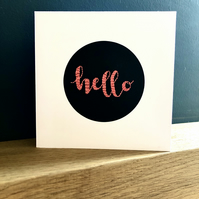 Hello, embroidered card, new home, thank you, handmade, pink & black, unique