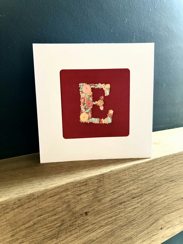 Single letter, embroidered card, birthday, new baby, handmade, unique