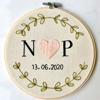 Handmade, Bespoke Initials and Date Embroidery Hoop, Wall Hanging