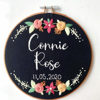Handmade, Bespoke Name and Date Embroidery Hoop, Wall Hanging