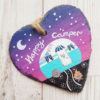 Personalised Caravan Decoration - Hand Painted Slate Heart Hanger
