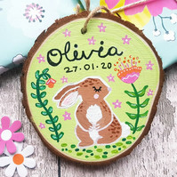 Bunny Hand Painted Personalised Kids Wood Slice Sign - Easter Decoration