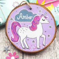 Unicorn Personalised Childrens Decoration - Hand Painted Sign