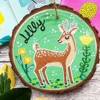 Deer Hand Painted Personalised Wood Slice Sign - Nursery Decor