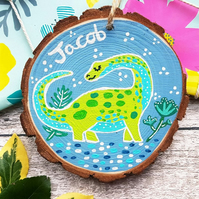 Dinosaur Hand Painted Personalised Wood Slice - Nursery Decor Sign