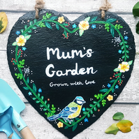 Hand Painted Personalised Garden Sign - Blue Tit Design - Slate Heart