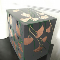Small preloved drawers with gilded ginkgo leaves