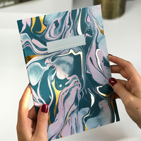 Hand Marbled Notebook with Gold Foil, Plain Pages, A5