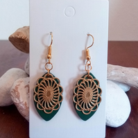 Wooden Green Leaf and Gold Dangle Earrings