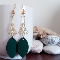 Gold Design and Green Wooden Leaf Pendant Dangle Earrings