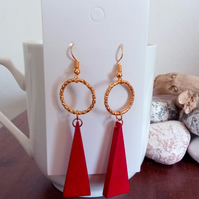 Gold and Red Wooden Triangle Pendant Earrings