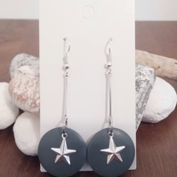 Silver Dangle Earrings with Grey Wooden Disc and Silver Star