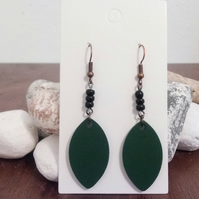 Green Leaf Shape Earrings