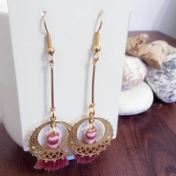 Gold and Pink Tassel Dangle Earrings