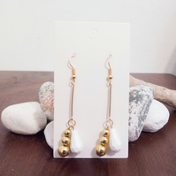 Gold Bead and White Drop Bead Dangle Earrings