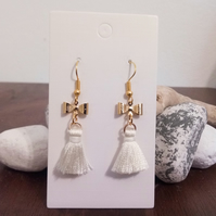 Gold Bow and Cream Tassel Earrings