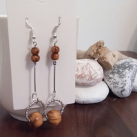 SALE Silver and Wooden Bead Dangle Earrings