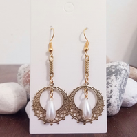 Gold and Pearl Drop Dangle Earrings