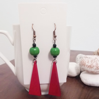Green Bead and Red Isosceles Triangle Wooden Earrings